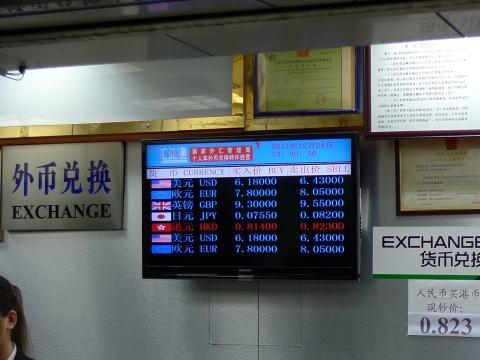 日本円・香港ドルから中国元への両替レート比較